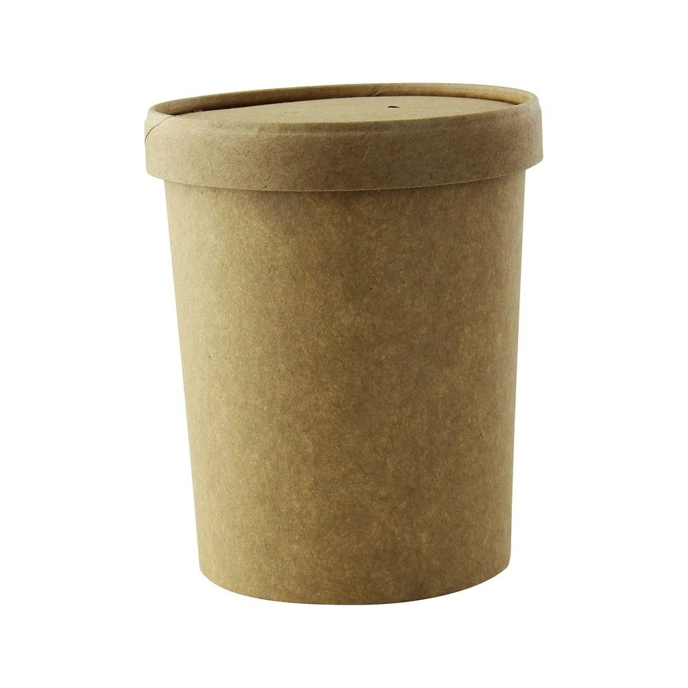 Pot carton brun chaud et froid avec couvercle carton 9,7 cm 62 cl Par 25