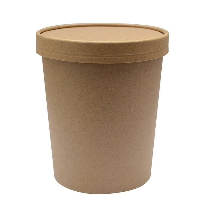 Pot carton brun chaud et froid avec couvercle carton 11,6 cm 94 cl Par 25