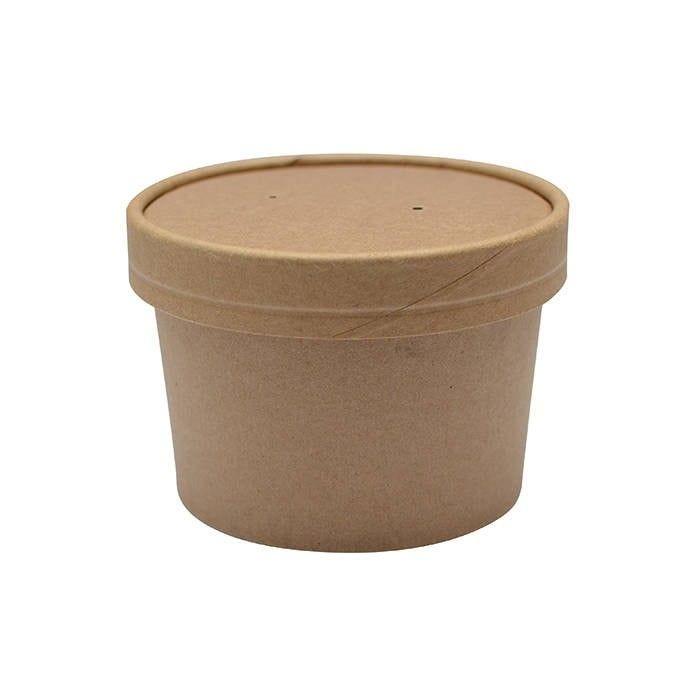 Pot carton brun chaud et froid avec couvercle carton 9 cm 24 cl Par 25