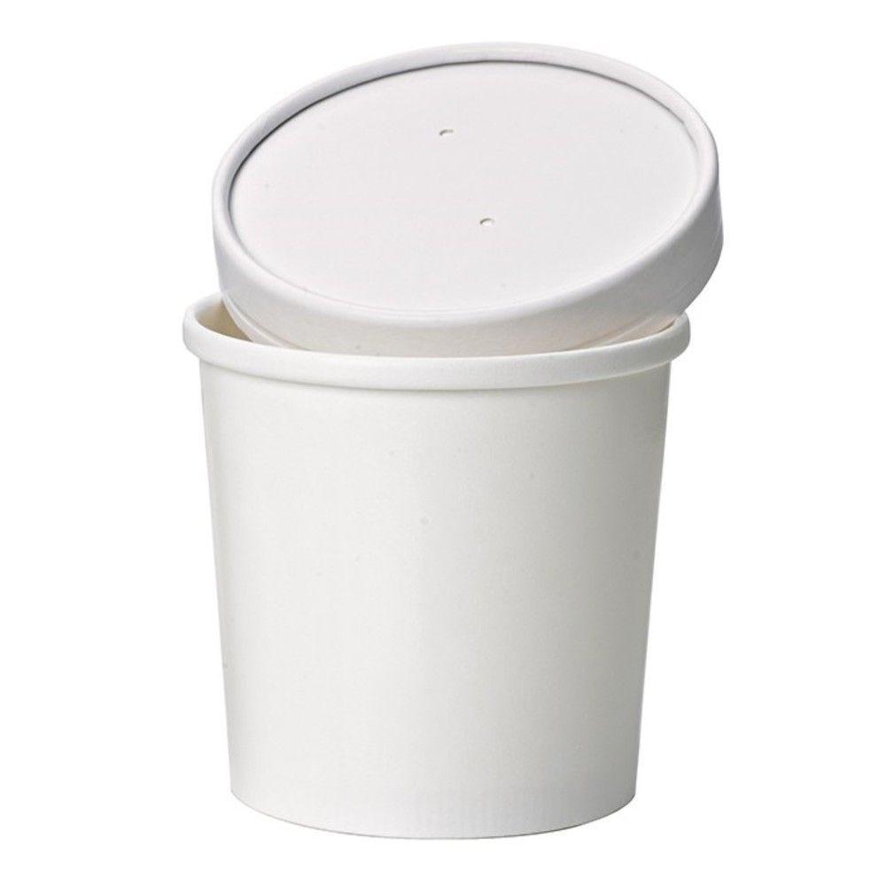 Pot carton blanc chaud et froid avec couvercle carton 9 cm 35 cl Par 25