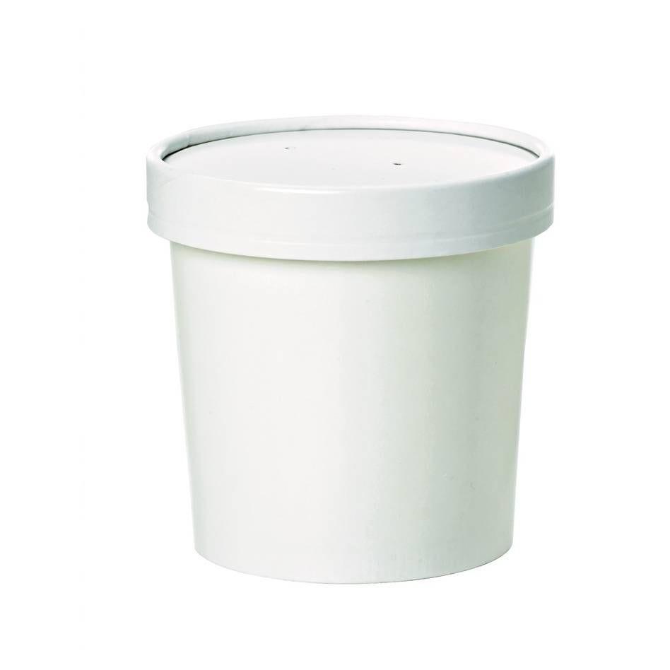 Pot carton blanc chaud et froid avec couvercle carton 11,6 cm 96 cl Par 25