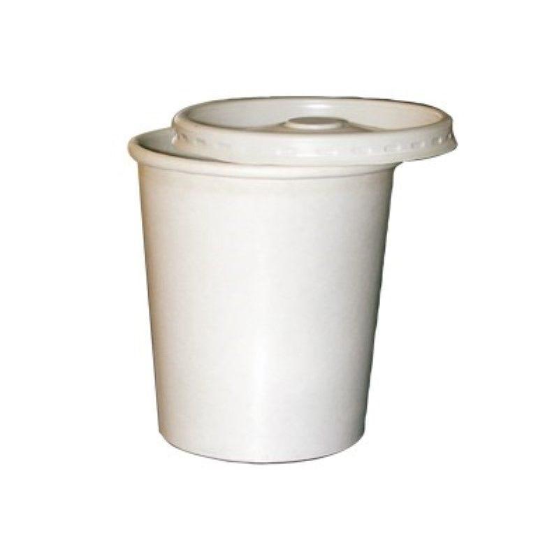 Pot carton blanc chaud et froid avec couvercle carton 9 cm 23 cl Par 25
