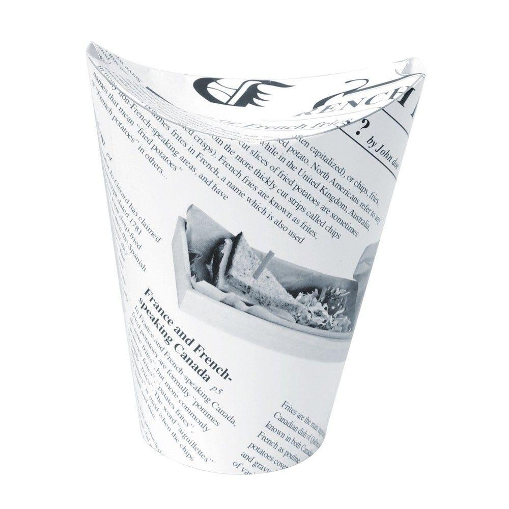 Gobelet snack refermable perforé carton blanc décor journal 35 cl Par 50
