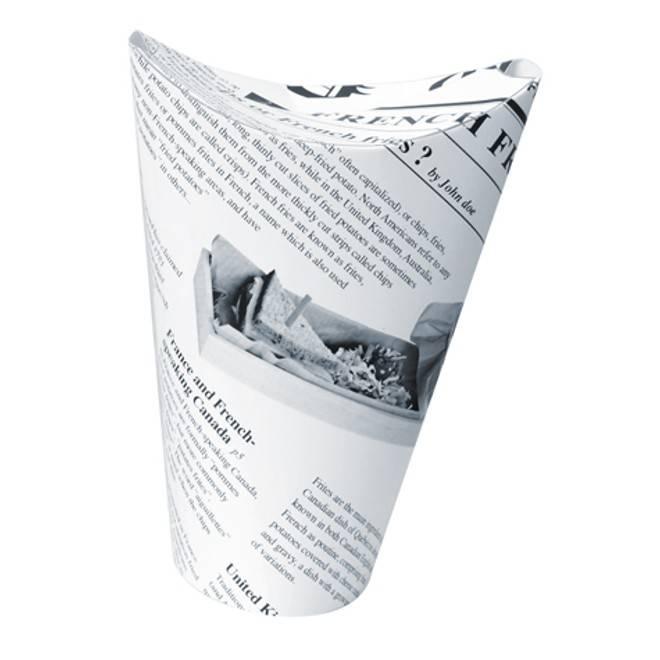 Gobelet snack refermable perforé carton blanc décor journal 48 cl Par 50
