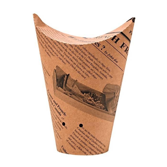 Gobelet snack refermable perforé carton brun décor journal 48 cl Par 50