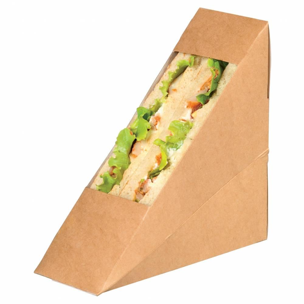 Triangle sandwich kraft simple à fenêtre 5 x 12,3 x 12,3 cm Par 50