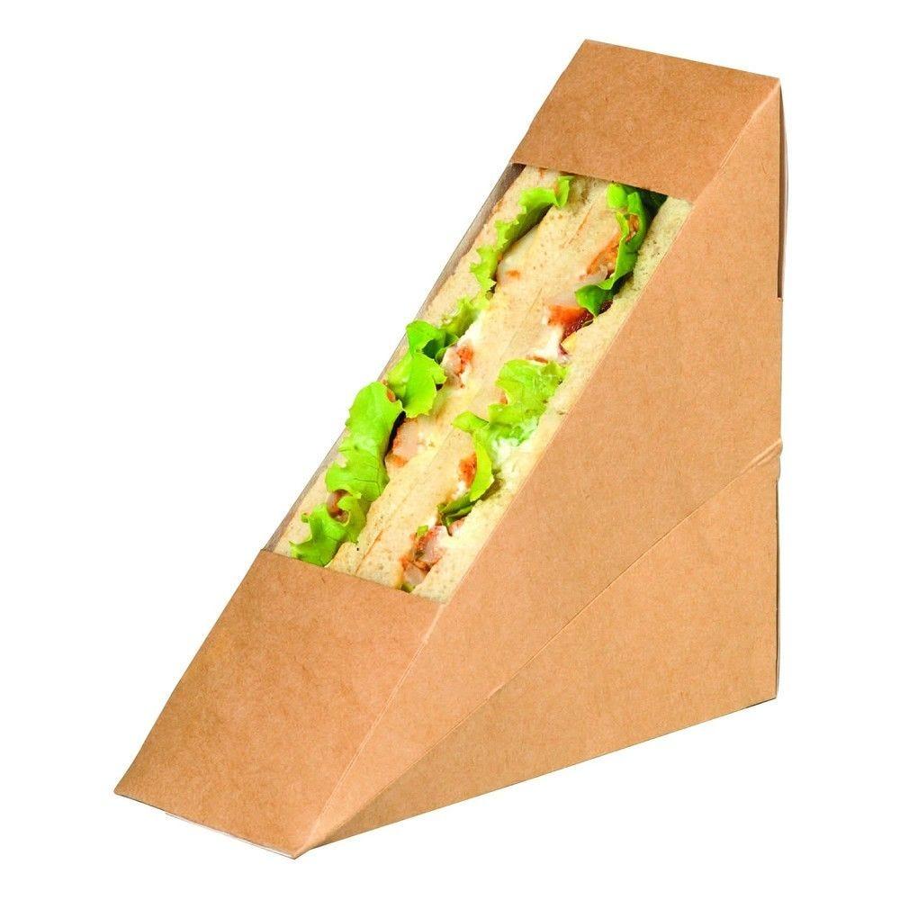 Triangle sandwich kraft simple à fenêtre PLA 5,5 x 12 x 12 cm Par 50