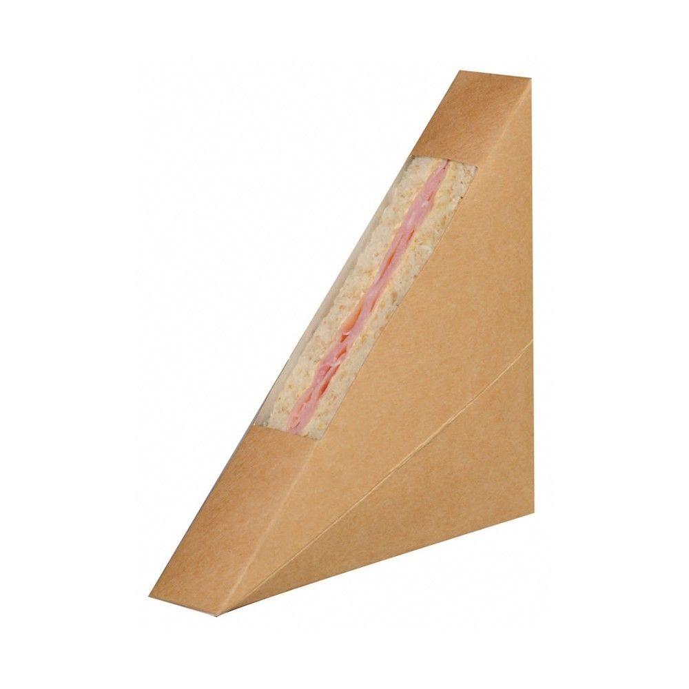 Triangle sandwich kraft simple à fenêtre 2,6 x 12,3 x 12,3 cm Par 50
