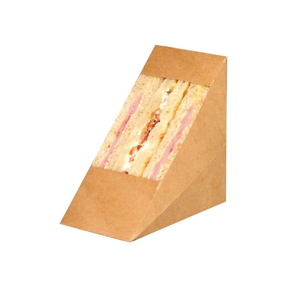 Triangle sandwich kraft double à fenêtre 7,2 x 12,3 x 12,3 cm Par 50