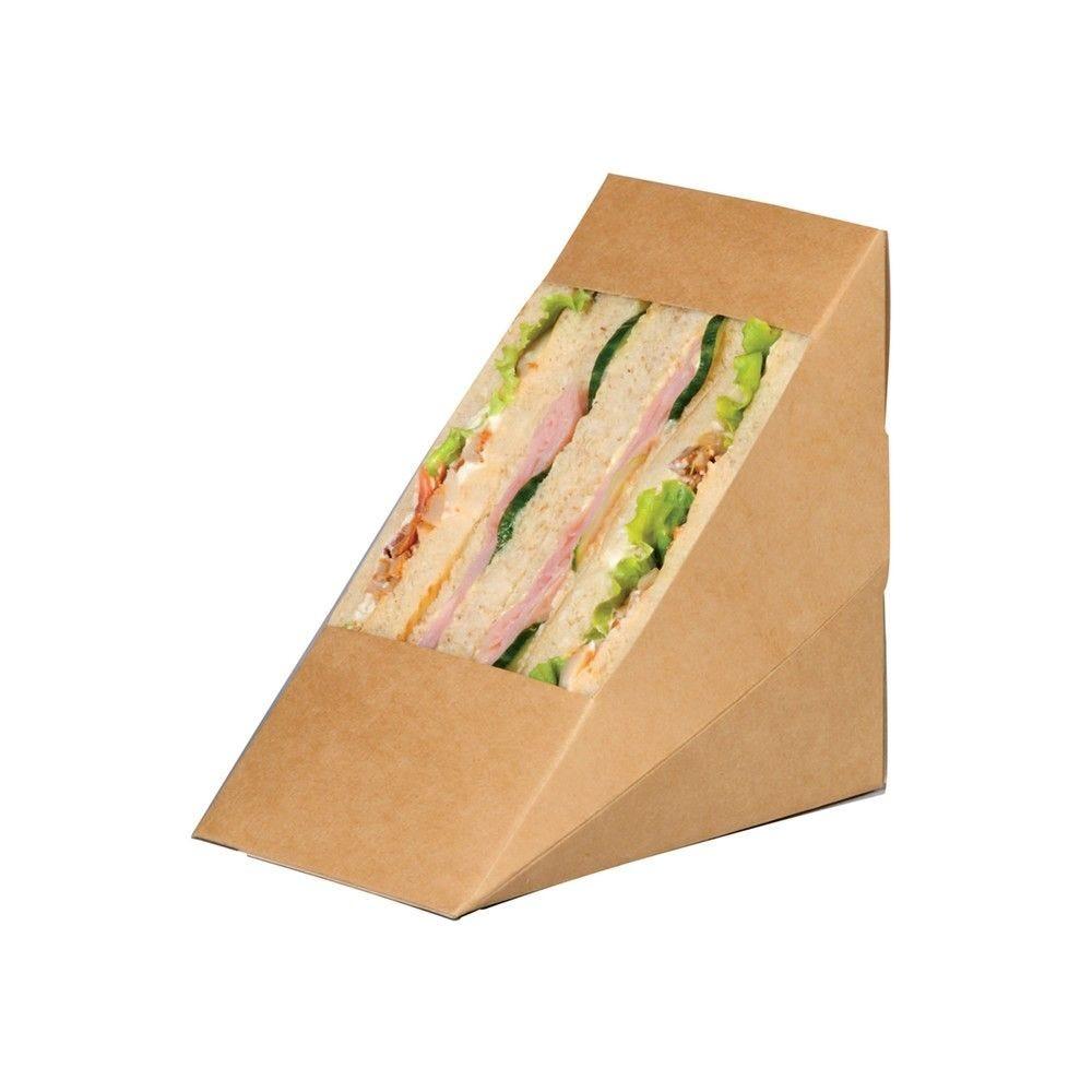 Triangle sandwich kraft triple à fenêtre 8,2 x 12,3 x 12,3 cm Par 50