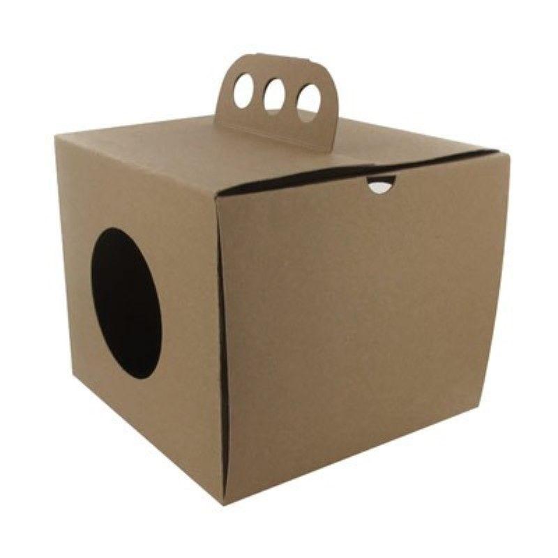 Boîte à emporter carton kraft brun 'Coup de poing' 17,6 x 17,6 cm Par 25