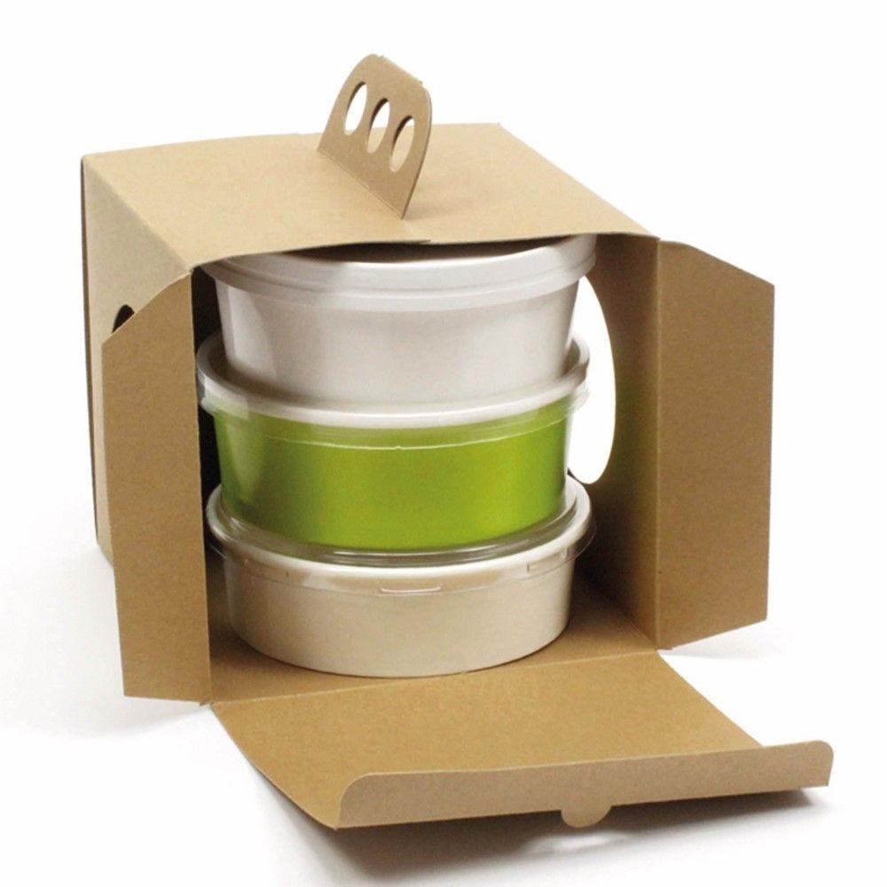 Boîte à emporter carton kraft brun 'Coup de poing' 28,6 x 17 cm Par 25