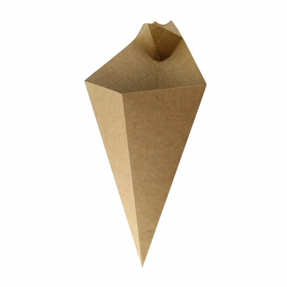 Cônes carton kraft avec compartiment à sauce 16g Par 25 unités