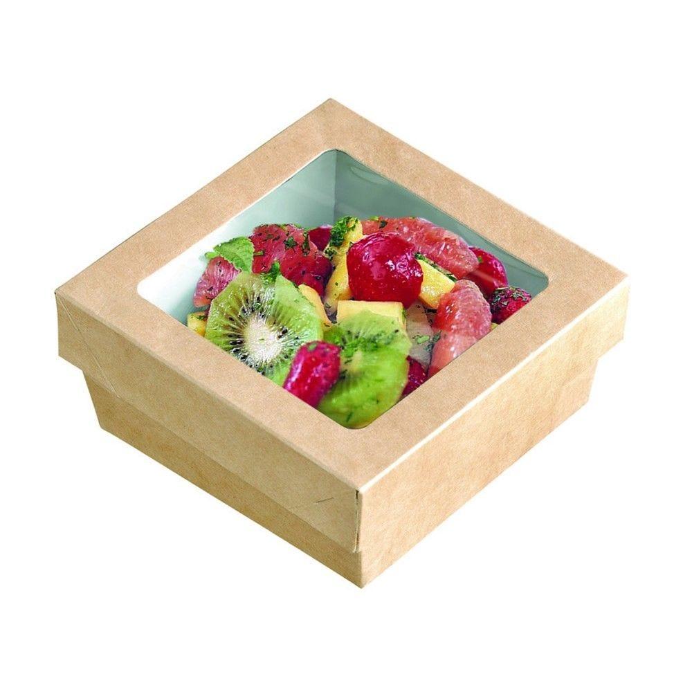 Boîte 'Kray' carton brun avec couvercle à fenêtre PLA 20,5 x 20,5cm 100cl Par 50