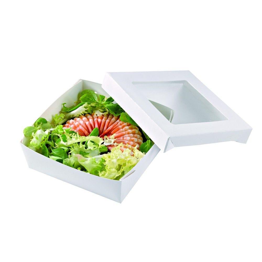 Boîte 'Kray' carton blanc avec couvercle à fenêtre PLA 13,5 x 13,5cm 50cl Par 25