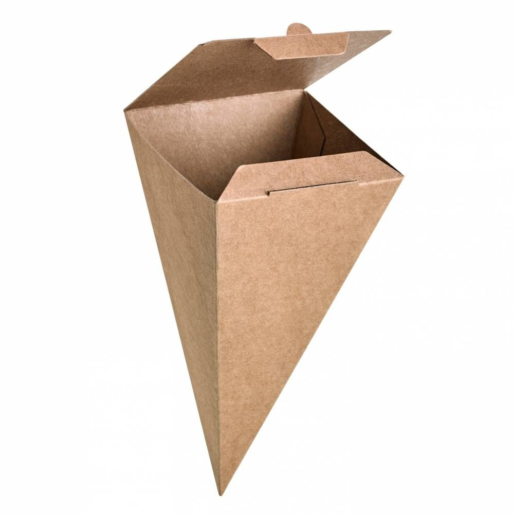 Cône snack refermable carton brun 13g Par 25 unités
