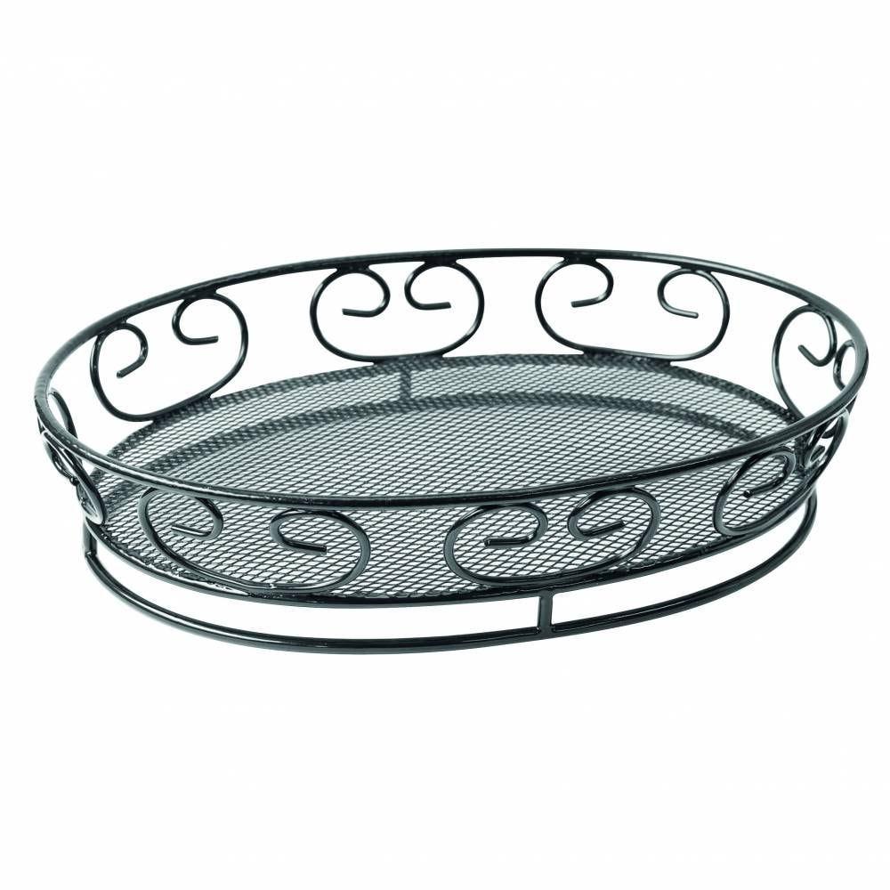 Panier métal noir ovale 23 x 16,5 cm Par 6