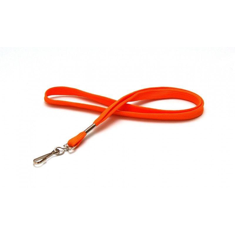Cordon 12mm polyester tube - mousqueton metal - Orange (lot de 100)