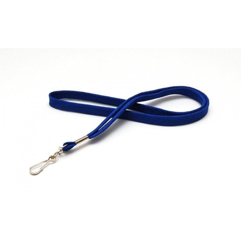 Cordon 12mm polyester tube - mousqueton metal - Bleu roi (lot de 100)
