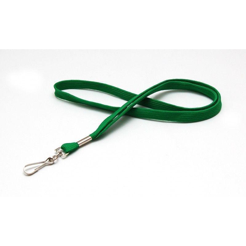 Cordon 12mm polyester tube - mousqueton metal - Vert (lot de 100)