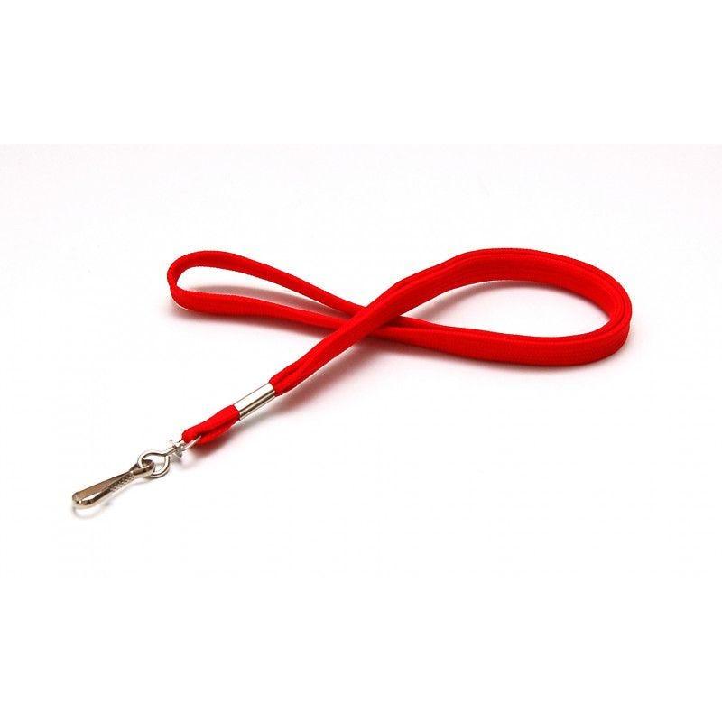 Cordon 12mm polyester tube - mousqueton metal - Rouge (lot de 100)