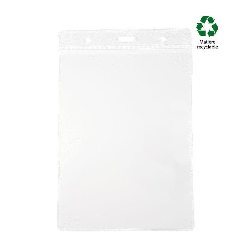 Porte badge A6 transparent souple - PVC recyclé (lot de 100)