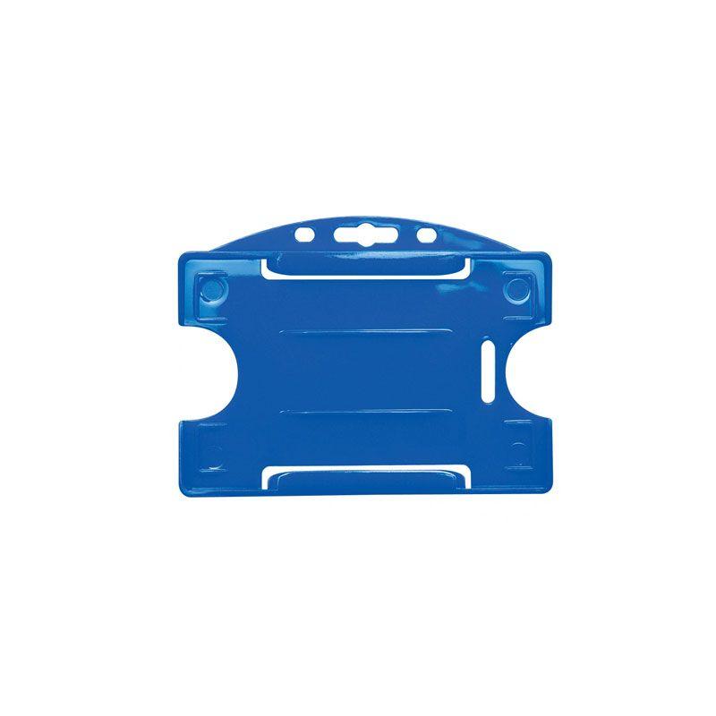 Porte-badge pour 1 carte - Modèle horizontal - Bleu Roi (lot de 100)