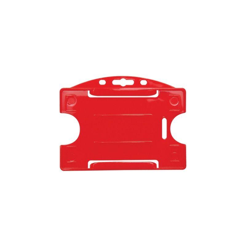Porte-badge pour 1 carte - Modèle horizontal - Rouge (lot de 100)