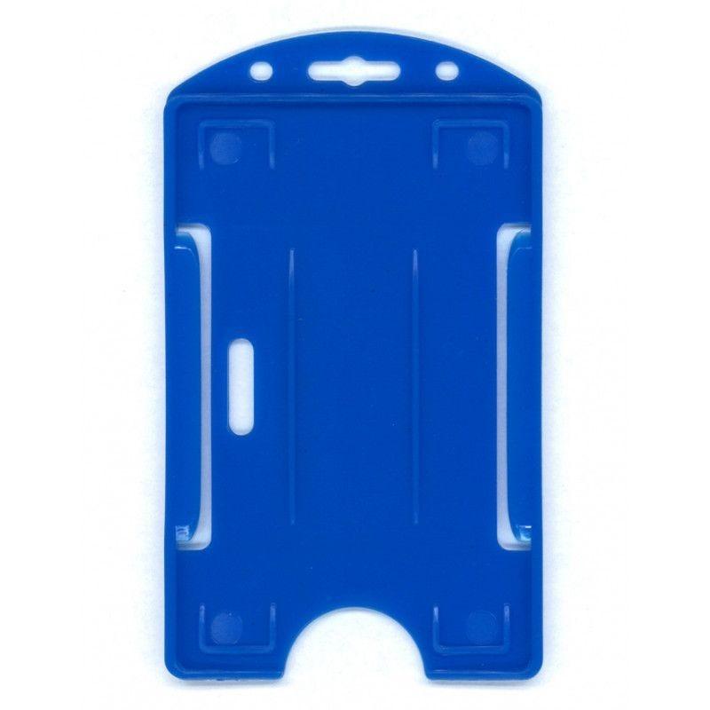 Porte-badge 1 carte - Modèle vertical - Bleu roi (lot de 100)