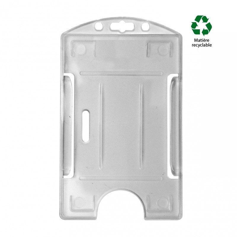 Porte-badge 1 carte - Modèle vertical - Translucide (lot de 100)