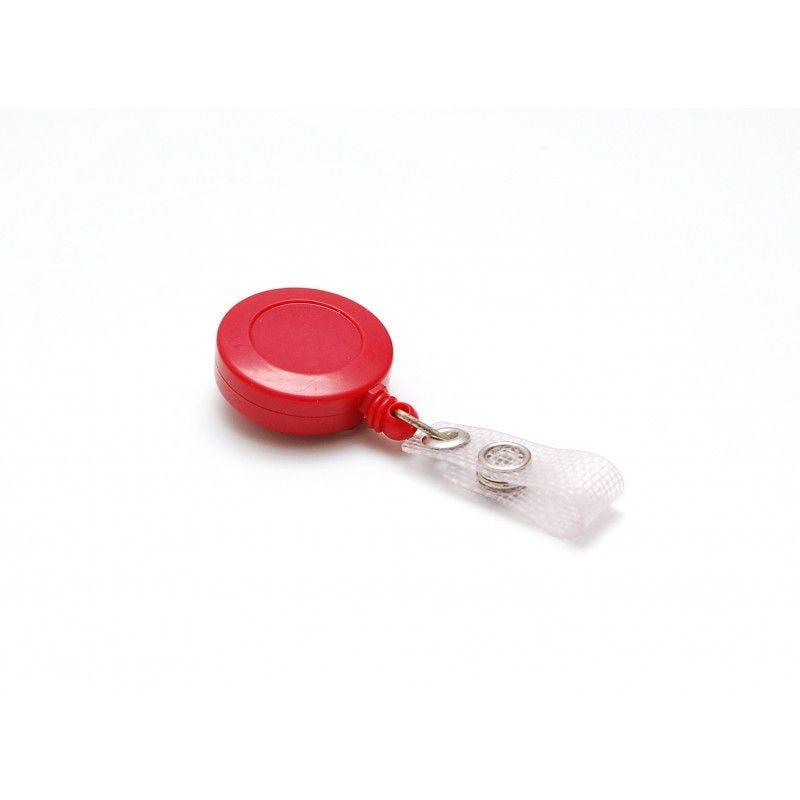 Enrouleur badge plastique couleur - Rouge (lot de 100)