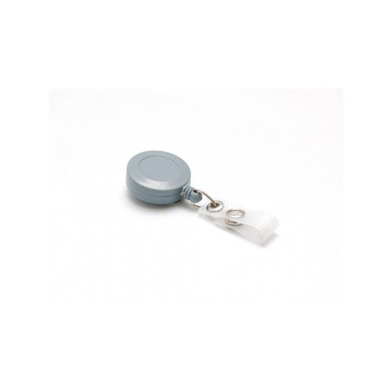 Enrouleur badge plastique couleur - Gris (lot de 100)