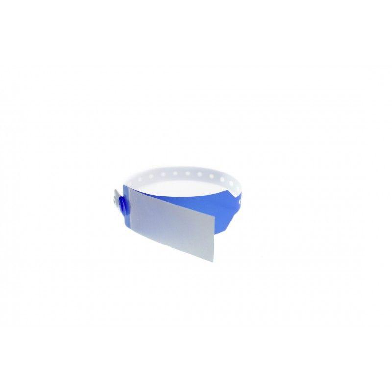 Bracelet hôpital avec rabat pour étiquette - modèle adulte - Bleu (lot de 100)