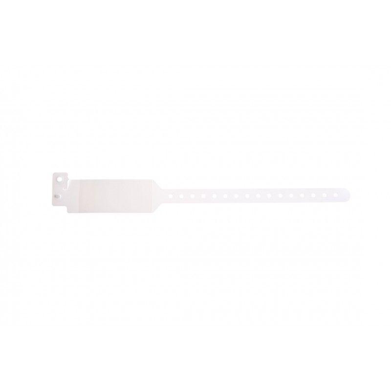 Bracelet hôpital avec rabat pour étiquette - modèle adulte - Blanc (lot de 100)