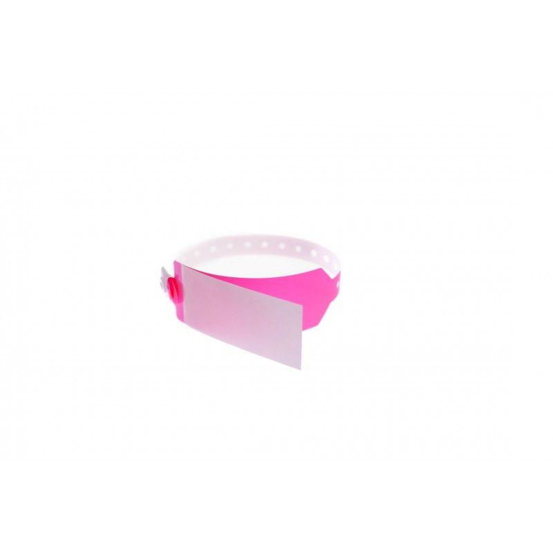 Bracelet hôpital avec rabat pour étiquette - modèle adulte - Rose (lot de 100)