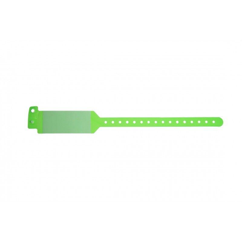 Bracelet hôpital avec rabat pour étiquette - modèle adulte - Vert (lot de 100)