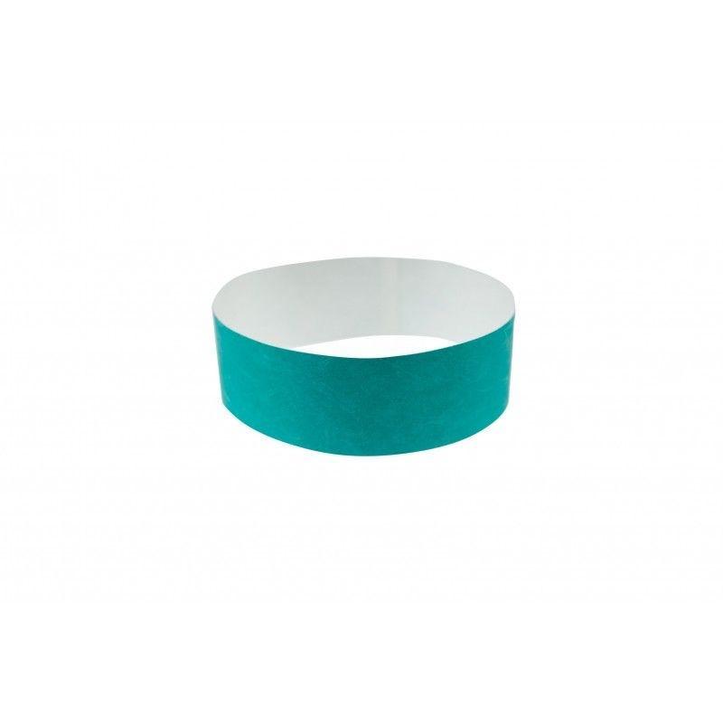 Bracelets 19mm papier indéchirable Tyvek - Bleu vert - lot de 100