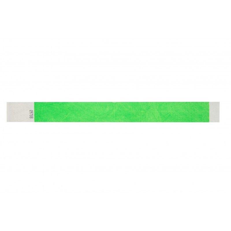 Bracelets 19mm papier indéchirable Tyvek - Vert fluo - lot de 100