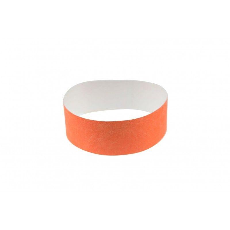 Bracelets 19mm papier indéchirable Tyvek - Orange fluo - lot de 100
