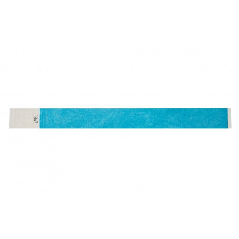 Bracelets 19mm papier indéchirable Tyvek - Bleu fluo - lot de 100