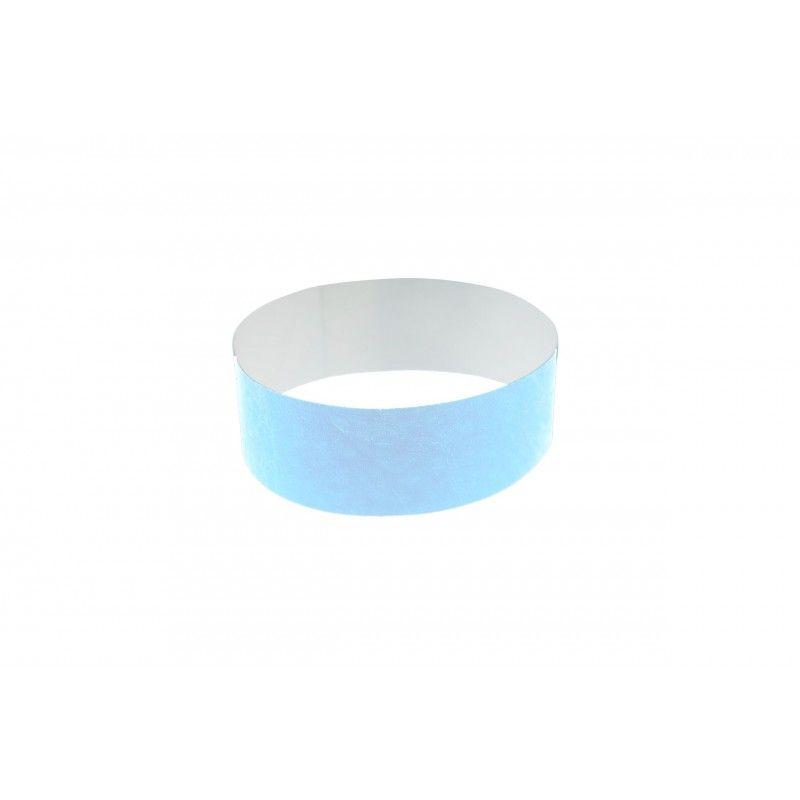 Bracelets 19mm papier indéchirable Tyvek - Bleu ciel - lot de 100