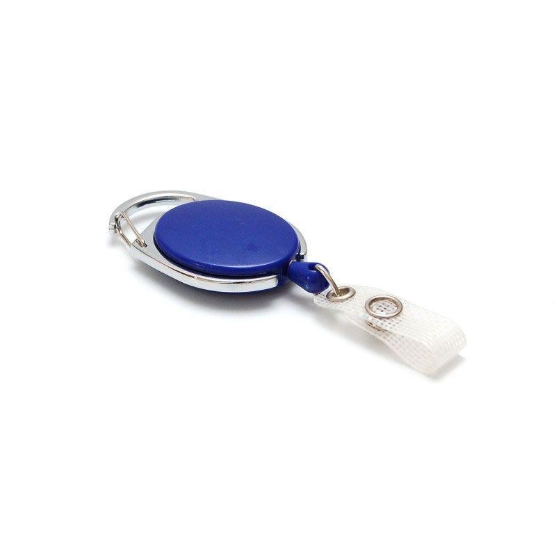 Enrouleur badge ceinture ovale - Bleu (lot de 100)