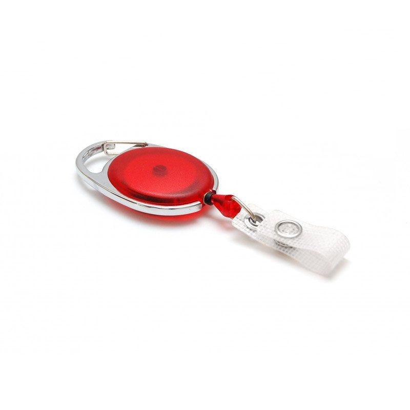 Enrouleur badge ceinture ovale - Rouge translucide (lot de 100)