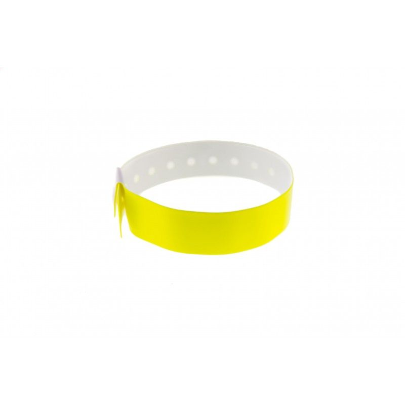Bracelets événementiels plastique vinyle Type L - Brillant - Jaune (lot de 100)