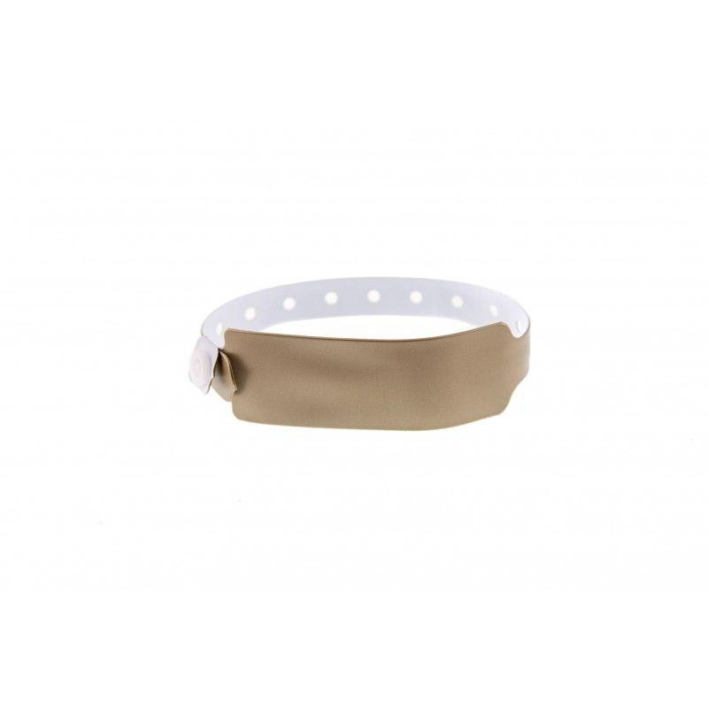 Bracelets événementiels plastique vinyle Extra-large - Métal - Or (lot de 100)
