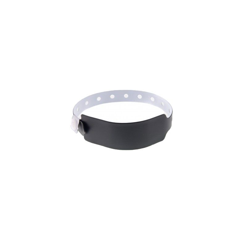 Bracelets événementiels plastique vinyle Extra-large - Mat - Noir (lot de 100)