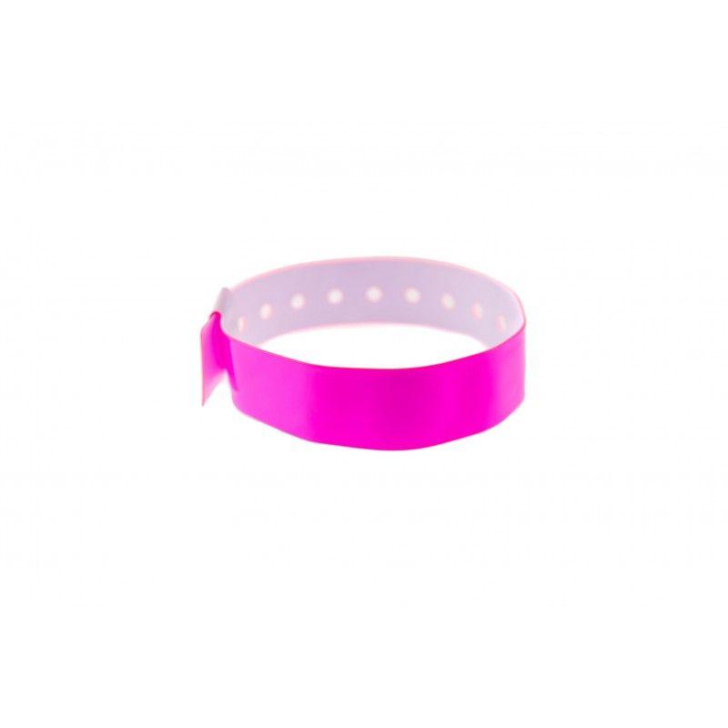 Bracelets événementiels plastique vinyle Type L - Brillant - Rose (lot de 100)