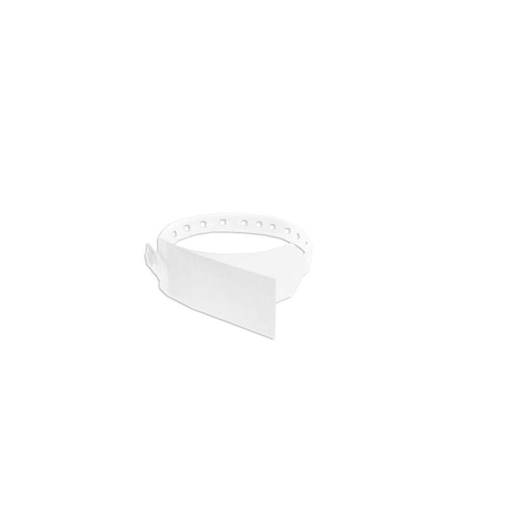 Bracelet hôpital avec rabat pour étiquette - modèle enfant - Blanc (lot de 100)