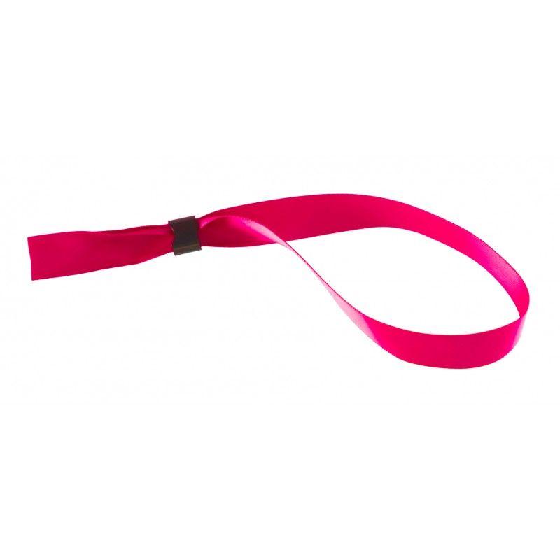 Bracelet tissu satin 15 mm avec boucle de fermeture - Rose (lot de 100)
