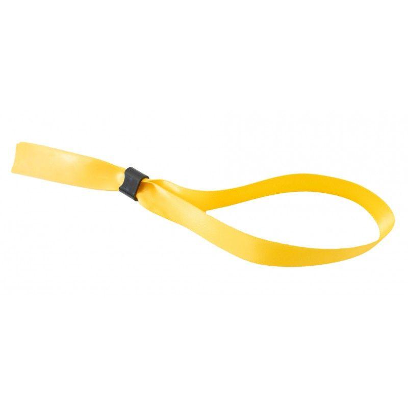 Bracelet tissu satin 15 mm avec boucle de fermeture - Jaune (lot de 100)